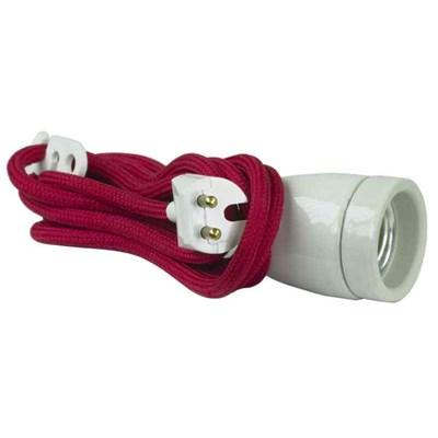 Lampupphäng Röd Textilkabel 2M Porslin E27