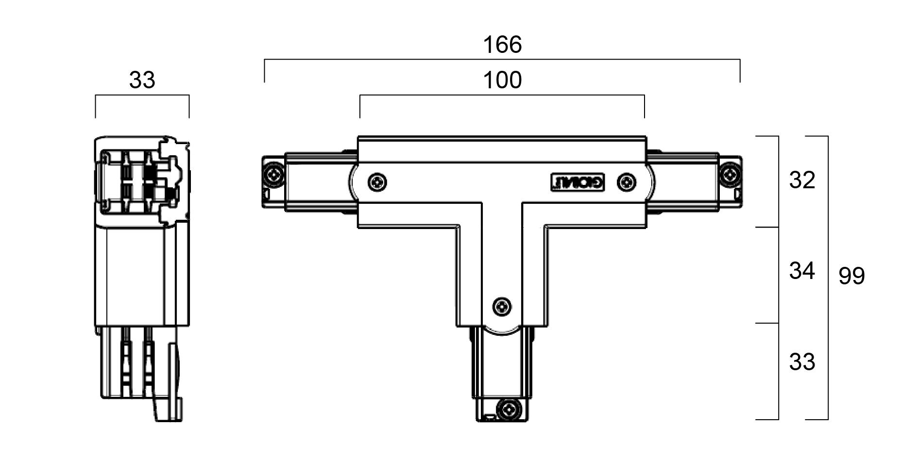 GLOBAL Trac Pro XTS39-1 T-Skarv Utsida Vänster Grå
