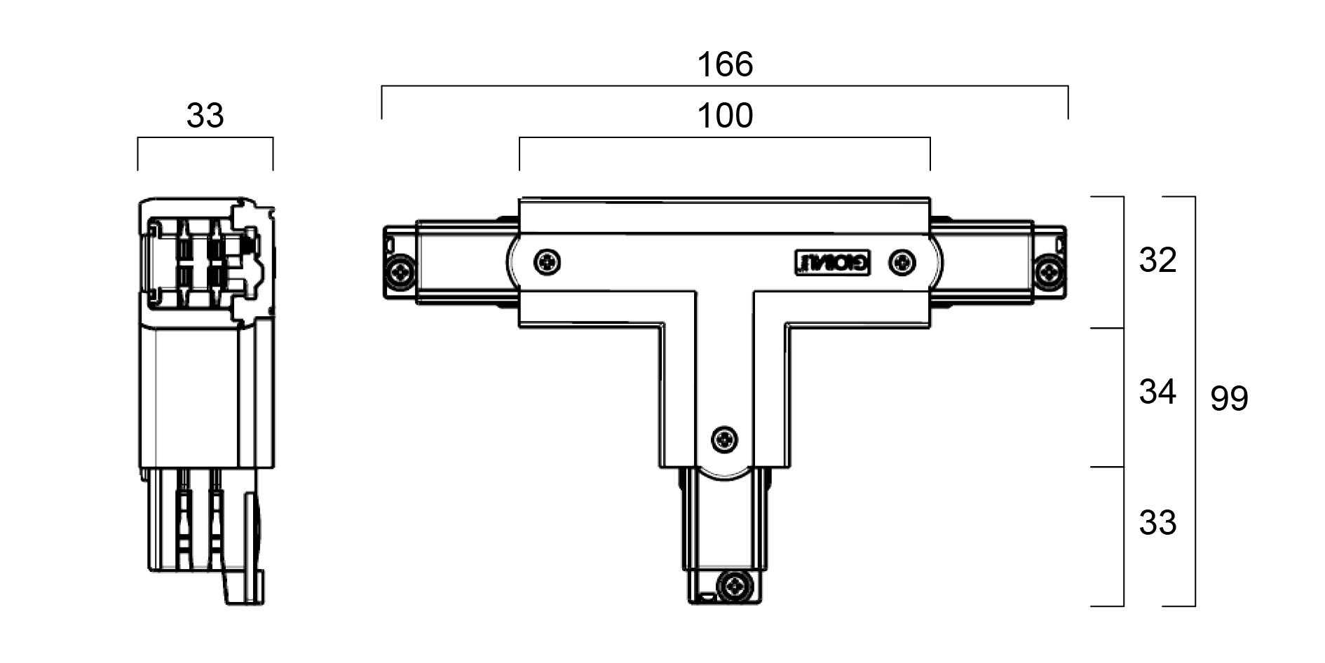 GLOBAL Trac Pro XTS37-3 T-Skarv Insida Vänster Vit