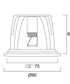 Lumiance Insaver 75 LED Dim 1-10V 1105lm 840 Vit line drawing