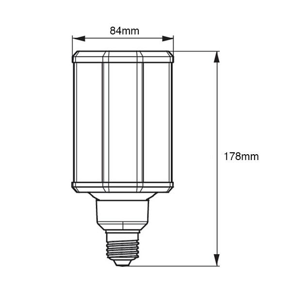 Philips TrueForce LED HPL ND 44-33W E27 740 FR Tech drawing