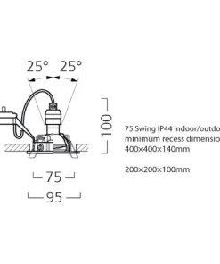 Lumiance INSET TREND 75 SWING IP44 Borstad aluminium_line_drawings