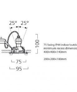 Lumiance INSET TREND 75 SWING IP44 Svart