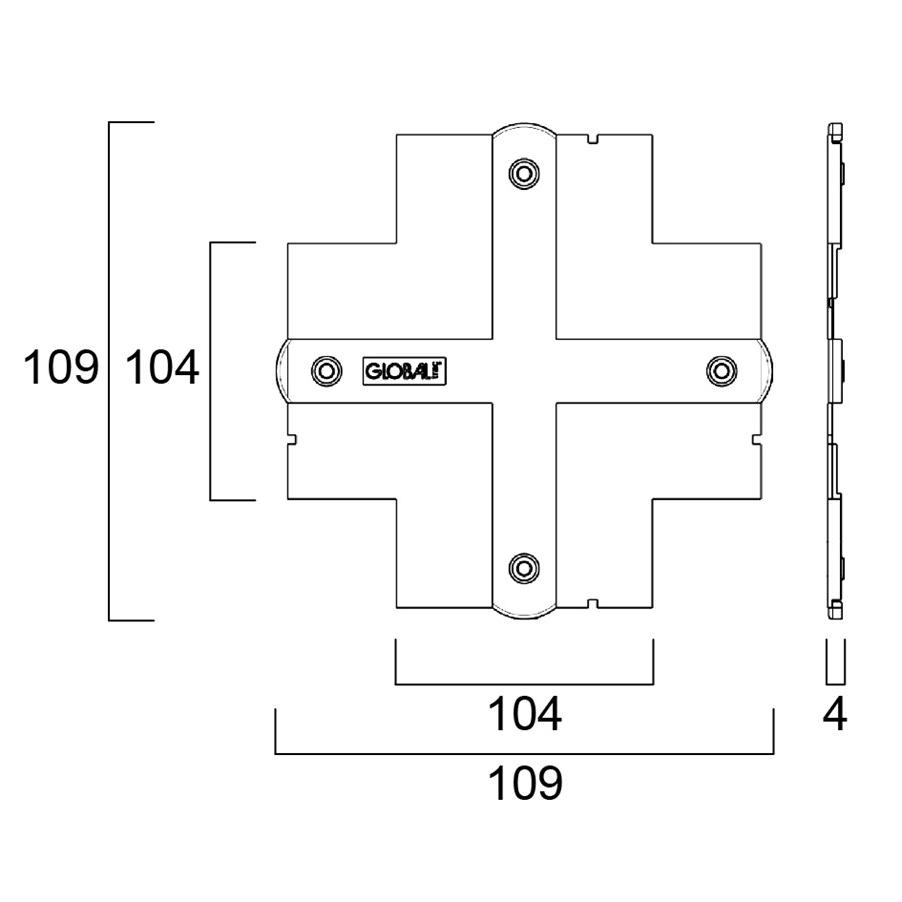 Global Trac Pro XTSF30-3 Skarvlock Infälld för XTS 34 -40 Vit Ritning