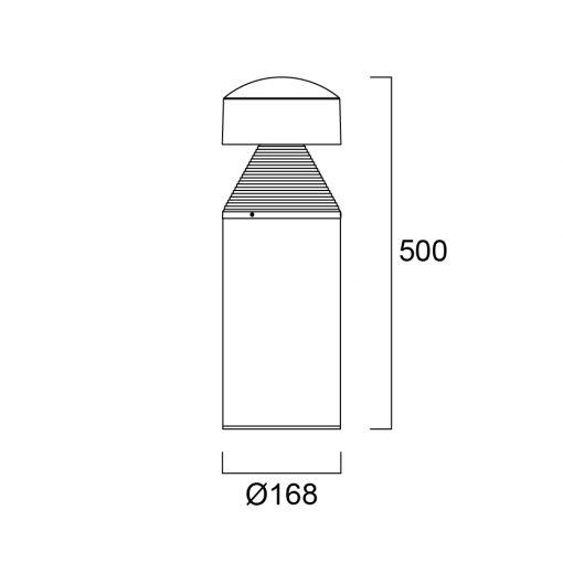 Sylvania Start Bollard M IP65 1100lm 830 Svart tech drawing