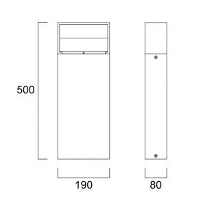 Sylvania Start Eco Bollard Rectangular M IP65 780lm 830 Svart tech drawing
