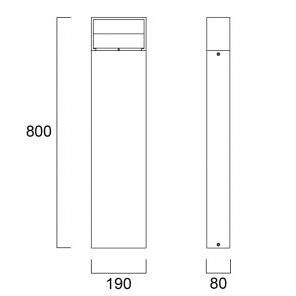 Sylvania START Eco Bollard Rectangular L IP65 780lm 830 Svart tech drawing