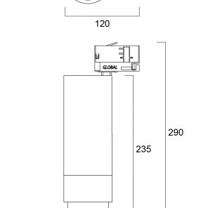 Sylvania Lenzo L 28W 2000lm 930 3-fas On-Board Dim Vit line drawing