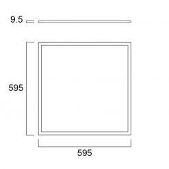 Sylvania Start Panel Flat UGR19 600x600 DALI 4000lm 840 tech drawing