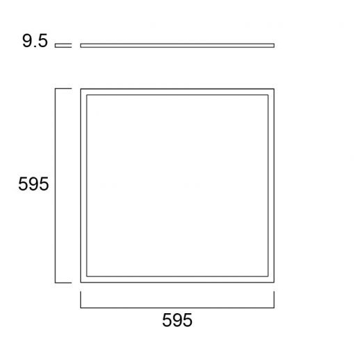 Sylvania Start Panel Flat UGR19 600x600 DALI 4000lm 830 tech drawing